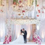 A Monique Lhuillier Bride for an Ultra-Luxe Jewish Wedding with an Ombre Floral Chuppah at the Beverly Wilshire, Beverly Hills, California, USA