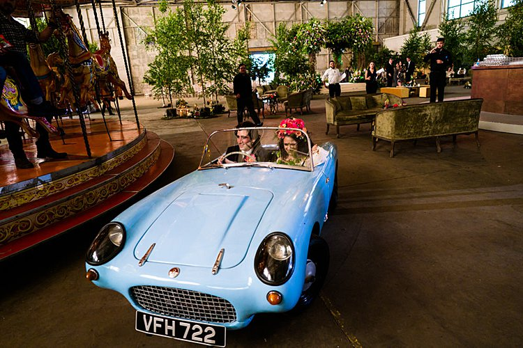 Jewish wedding in an aeroplane hangar at Bicester Heritage UK