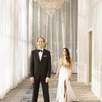 A Nicole Bakti Bride for a Garden Glam Jewish Wedding with an Asymmetrical Chuppah at Sheraton Universal, Los Angeles, California, USA