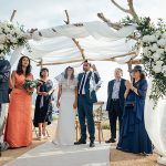A Lihi Hod Bride for a Bohemian Chic Outdoor Jewish Wedding with a Driftwood Chuppah at Le Rocher on Corsica, France