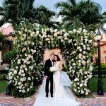 A Lee Petra Grebenau Bride for a Destination Jewish Wedding with a Dreamy Floral Chuppah at Boca Raton Resort and Club, Florida, USA