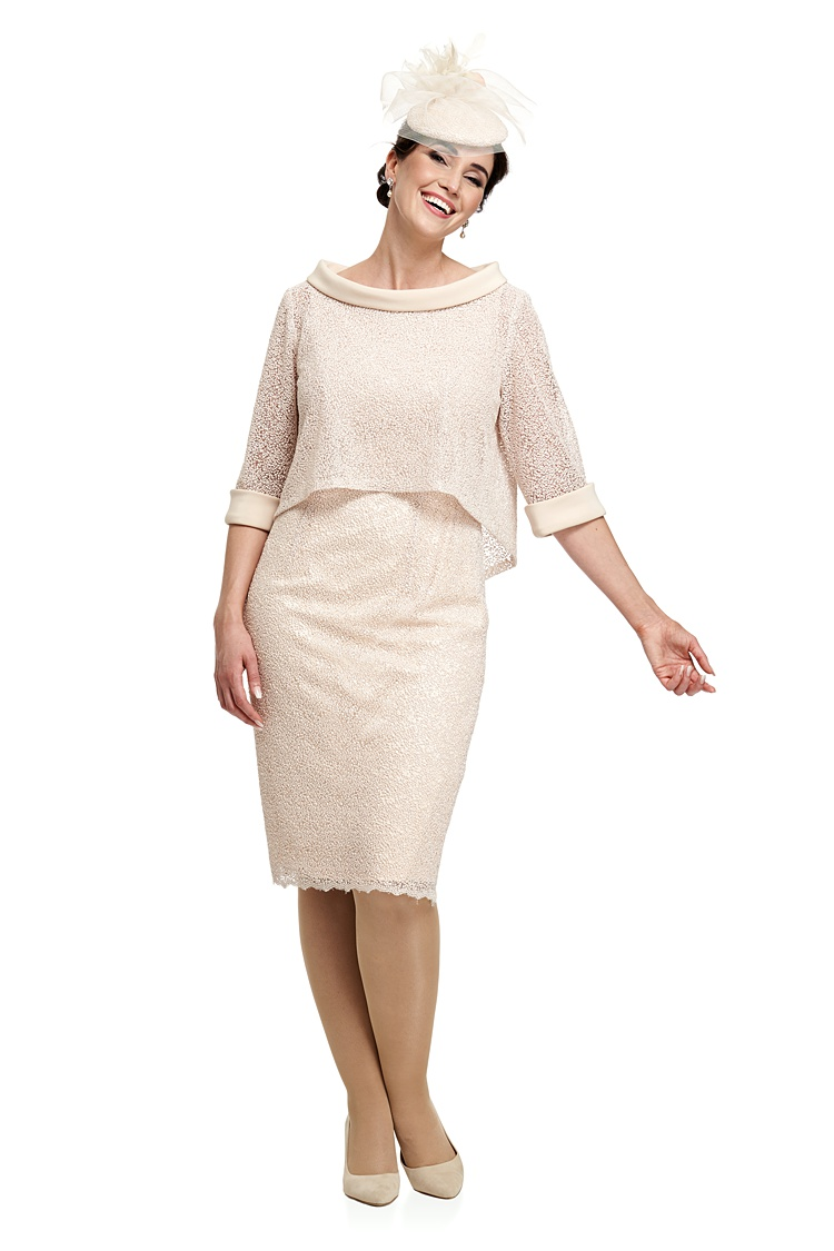 Trapeze Cropped Jacket Over Sparkle Fitted Dress Joyce Young
