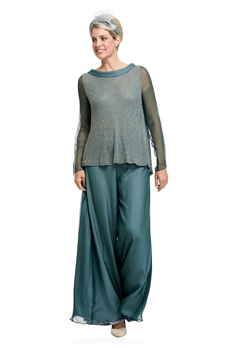 Joyce Young Georgette Beaded Silk Tunic And Palazzo Pants