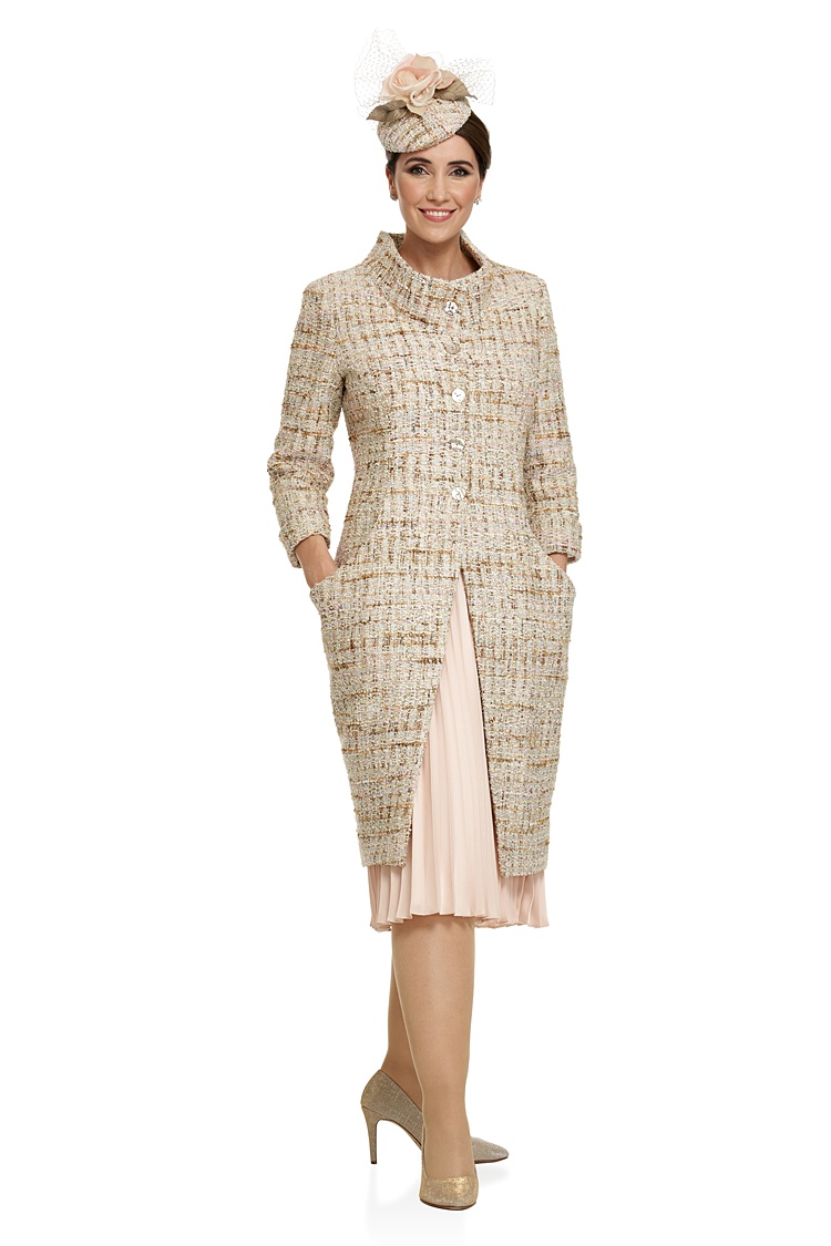 Joyce Young Chanel Style Contemporary Coat Over Pleated Dress