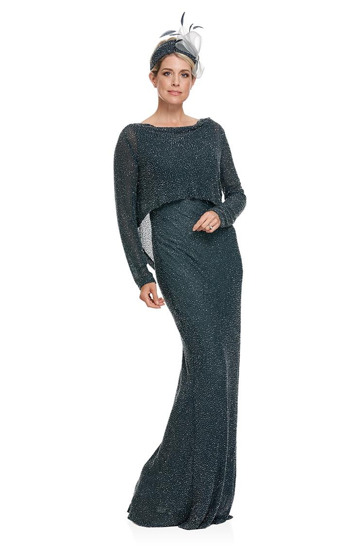 Long Bias Cut Beaded Silk Georgette Dress And Top