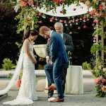 An Emmy Mae Bride for a Chinese-Jewish Wedding with a Peony Chuppah at the Massachusetts Horticultural Society, Wellesley, MA, USA