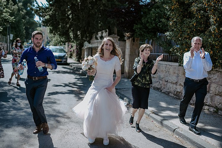 Beth and Mattan, Corona wedding, friends garden in Katamon, Israel