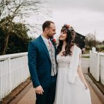 An Elia Vatine Bride for a Ketubah Artist's Egalitarian Vegan Jewish Wedding at the Great Barn at Headstone Manor, UK