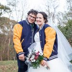 A Nouvelle Amsale Bride for an Autumnal Outdoor DIY Jewish Wedding on a Budget at Camp Holiday Trails in Charlottesville, Virginia, USA