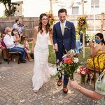 A Pronovias Bride for a Sustainable Backyard Jewish Micro Wedding in Somerville, Massachusetts, USA