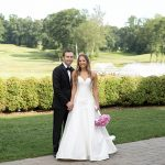 A Caroline Castigliano Bride for a Jewish Wedding in Pink and Gold at Alpine Country Club, Demarest, New Jersey, USA